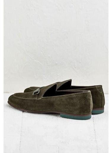 Elle %100 Deri Loafer Ayakkabı Yeşil